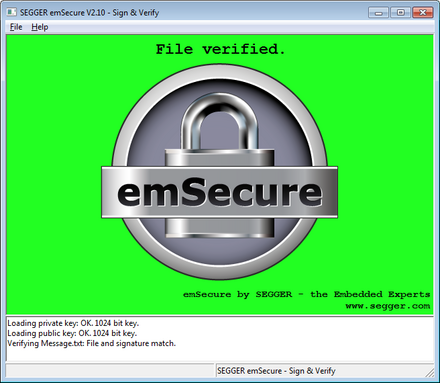 emsecure sign verify file verfied